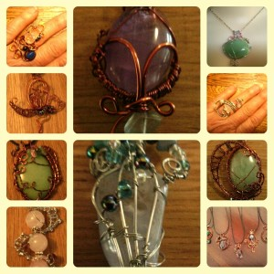 Rings in copper, pendants hand made wire worked jewellery. Made by Fern