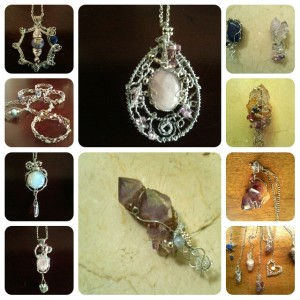 Rose quartz centre with crystal below, Opalite left,