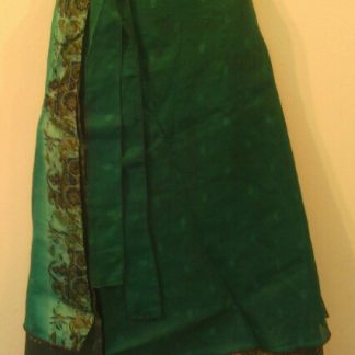 Silk Skirts double wrap around Silk skirt. Two layers of complementary silk fabric on long tie belt - can fit all sizes - Rich jewel colour silk skirts