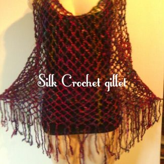Silk crochet top to fit any size - stretchy for all sizes - stretches over any top or dress - good length - roughly spun silk in one mixed strand of purple,pink and torqoise - very pretty over any outfit
