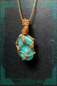 3.Amazonite stone Macarame setting, natural shape, cotton cord