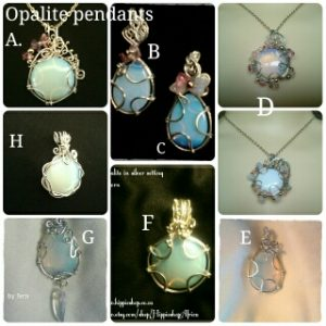 Opalite Pendants, Beautiful Ethereal Jewellery with chain, hand made by Fern. Choose a design by ABC