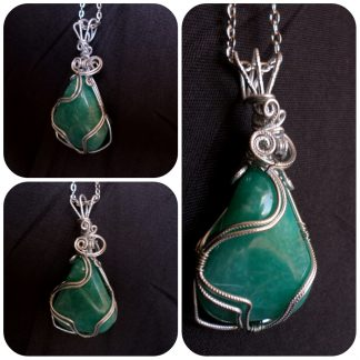 5. Amazonite, silver plated wire setting