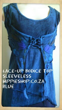 Lace-up Bodice Top - Soft T shirt fabric, stretchy with lace up tie in front, Colours Green, Burgundy,Blue,Purple South Africa, hippieshop.co.za R450freepost