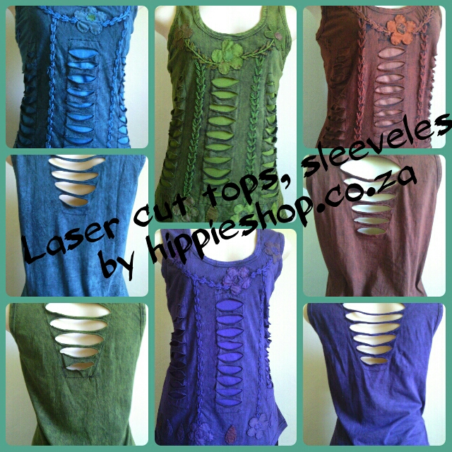 LaserCut Summer tops, sleeveless Back has laser cut detail R450 Freepost