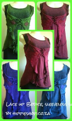 Lace up Bodice tops, Sleeveless, T Shirt fabric, Stretchy colours:- Green,Burgundy, Blue, Purple hippieshop.co.za