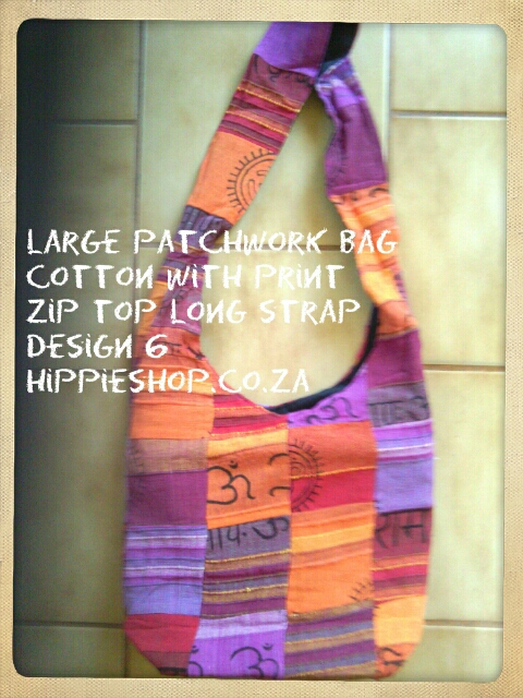 Large patchwork Bag, mixed cotton patch with print. zip top and long strap. Design 6 price R165. free post