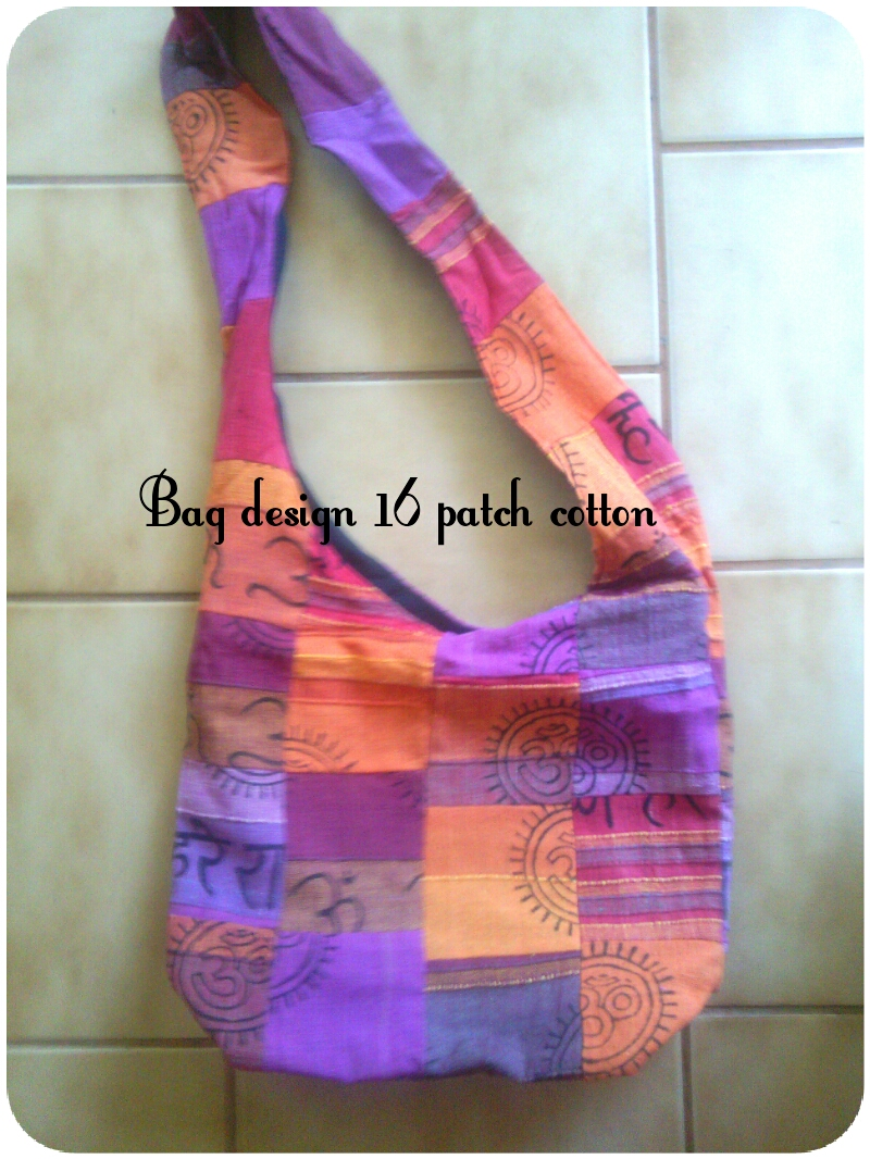 Patch bag - Hippie style, with long strap and zip to close - Hand embroidered detail - size 30cmx40cm price R195