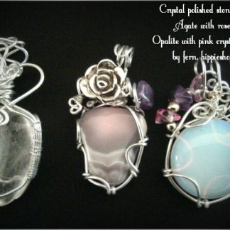 Agate pink, |Crystal rounded and Opalite Pendants, |Crystal rounded and Opalite Pendants #Crystals #pinkAgate #Opalite