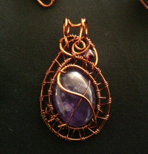 Amethyst cabochon in copper weave setting #Amethystcabochon #amethystoval #amethystpendant #amethystcopper