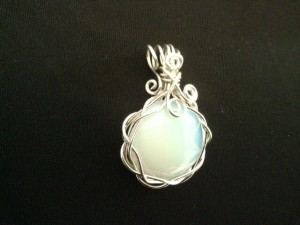 Opalite Pendant with woven silver setting made by fern #Opalitependant