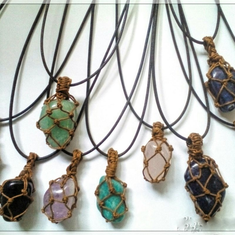 Mixed stone pendants with Macrame string setting, Earthy, pretty, includes cord