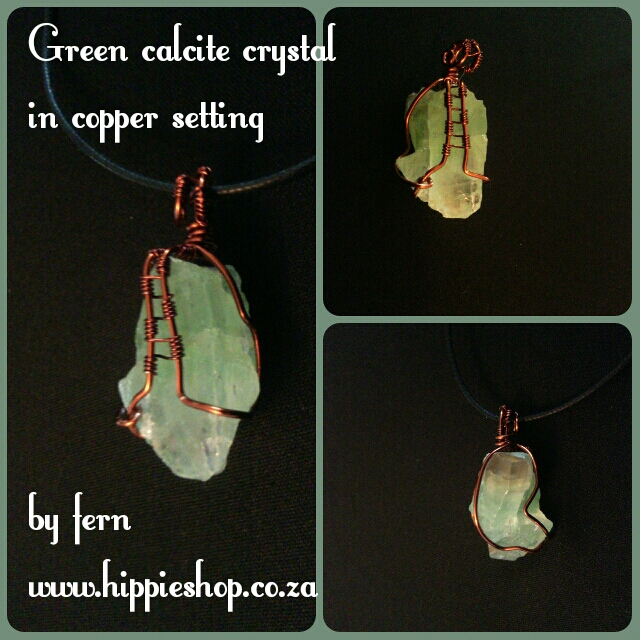Calcite Green Crystal set in copper #coppercrystal #greeCalcitependant #greencalcite #greenpendant