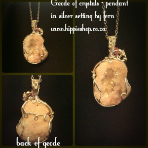 Crystal geode pendant on chain - natural colour stone #Crystalgeode #crystalgeodependant