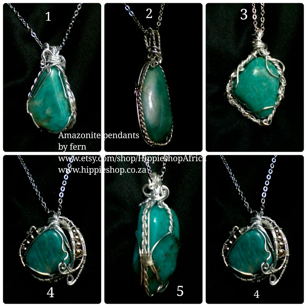 Amazonite pendants Beautiful settings Hand made with chain