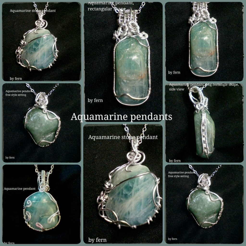Aquamarine Pendants with chain, Unusual Jewellery at its best