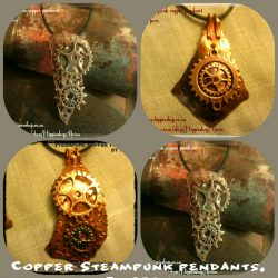 Steam Punk Pendants collection, choose one, Pure Copper with gears