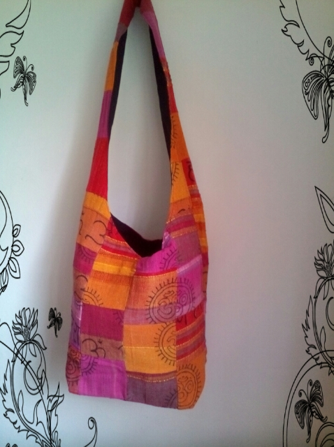 Bag with long strap 30cm x 40cm body of bag, Hand Embroidered - Unique bags, zip top