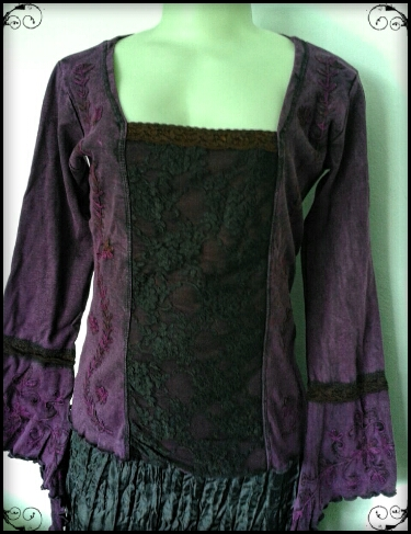 Medieval Lace Front Top, Long pointy embroidered sleeves, stretch fabric, A style for all figures