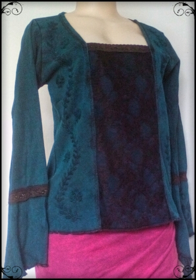 Medieval Lace Front Top, Long pointy embroidered sleeves, stretch fabric,  A style for all figures No Stock Available