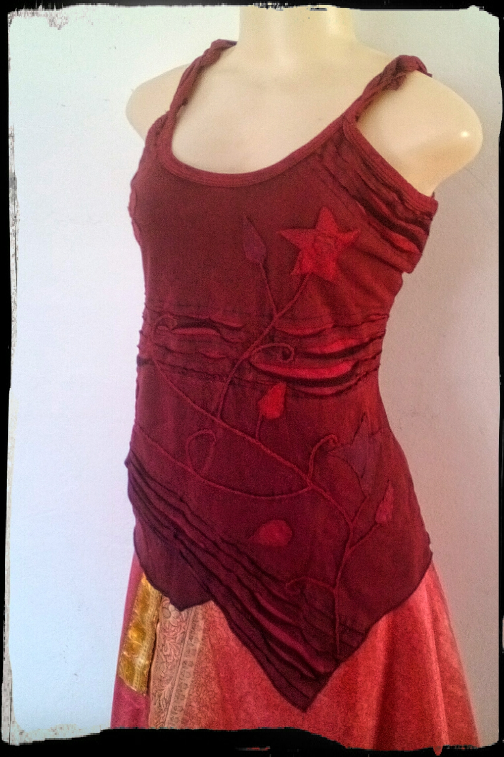Plaited Strap,Romantic summer top, Green Red or Purple, medium to XXL Big style top, T shirt fabric slightly stretchy