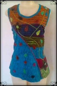 Pretty Summer top,Diagonal embroidered detail by hand, Two colours Blue or Green, medium size up to XXL big style cut. slightly stretchy, looks great and good length top