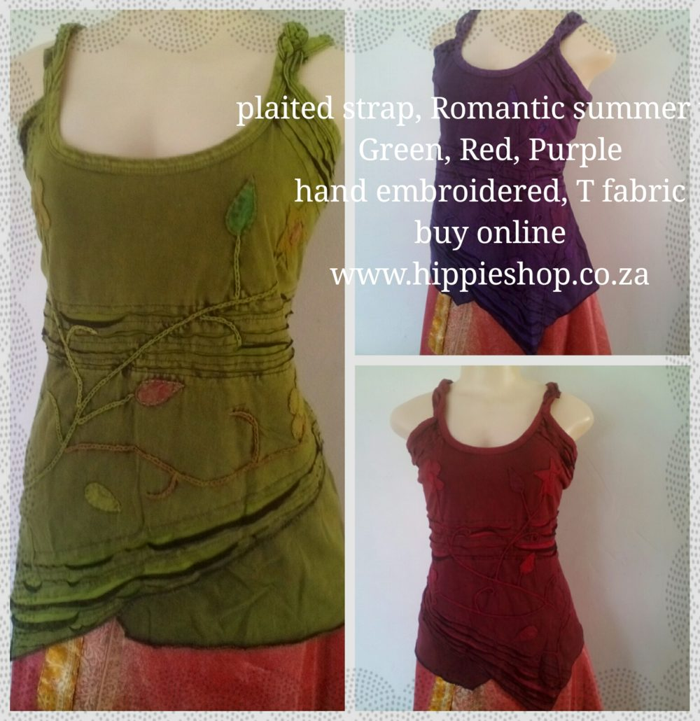 Plaited Strap,Romantic summer top, Green Red or Purple, medium to XXL Big style top, T shirt fabric slightly stretchy, Looks great on all