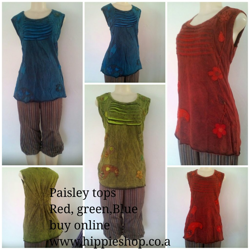 Paisley sleeveless tops, Red, Green, Blue medium to XXL sizes, Rushed elastic back for comfort and style