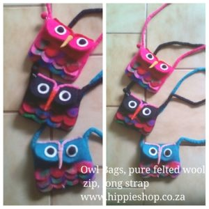 Owl Bags, pure wool, long strap, zip top, handmade and so pretty 13cm x 17cm plus long strap Pink Black Torquoise