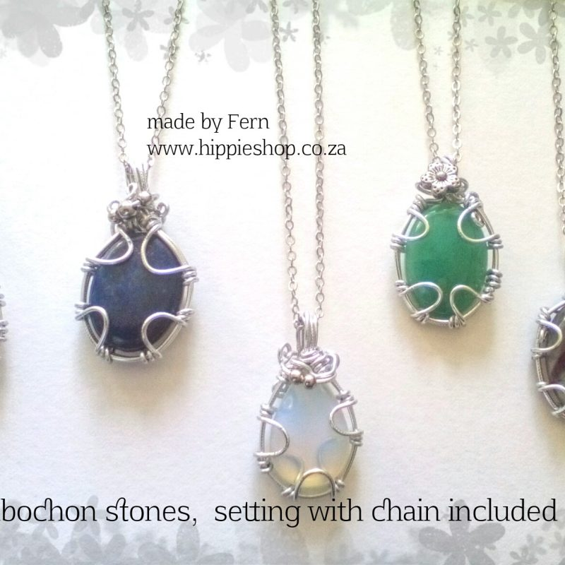 Oval Stone pendant, cabochon, hand crafted setting, includes chain
