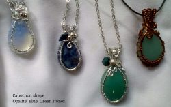 Cabochon silver net setting, various stones
