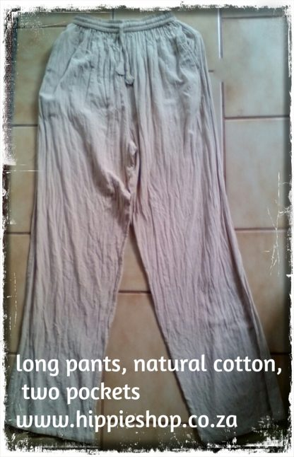 Cotton long Pants, Natural washed cotton, Two pockets, draw string waist plus elastic