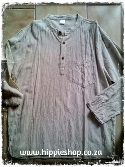 Cotton Shirt, long sleeve, Natural washed cotton,Two pockets, Coconut buttons
