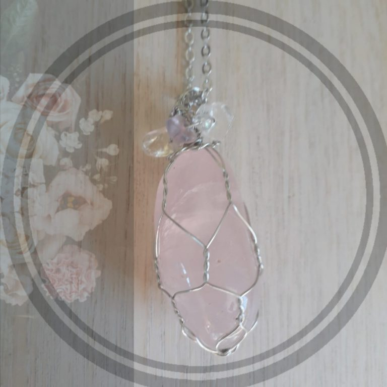 2. Rose Quartz, silver net setting with chain