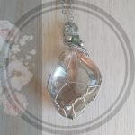 Crystal clear stone Pendant in silver net setting with chain