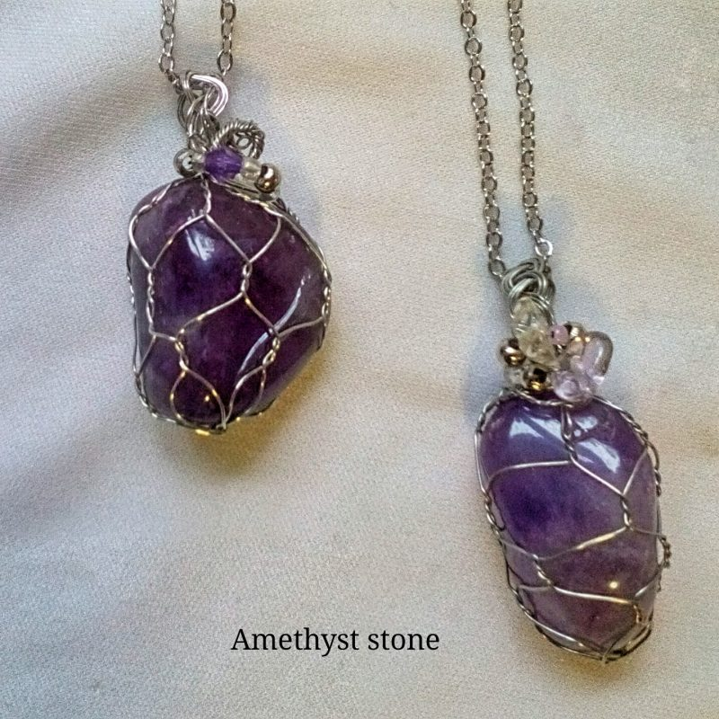3.Amethyst pendant 1- 2cm silver net setting (silver plated) beautiful stone