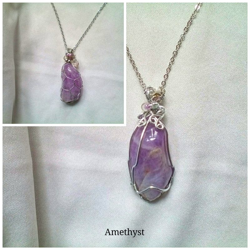 4.Amethyst pendant 1- 2cm silver net setting (silver plated) beautiful stone