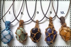 14. Mixed stone pendants with Macrame string setting, Earthy, pretty, includes cord