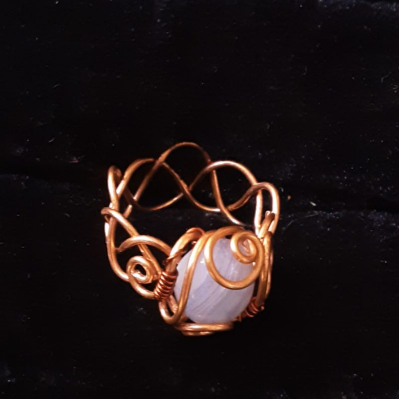 Blue lace agate cabochon ring, copper or silver plated artisan ring