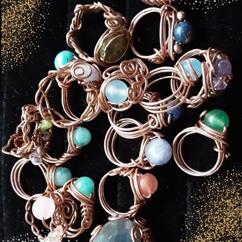 Mixed copper rings, hand crafted, Semi precious stone rings