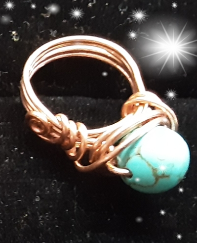 Copper ring, Turquoise stone, hand crafted, artisan ring, custom made to size
