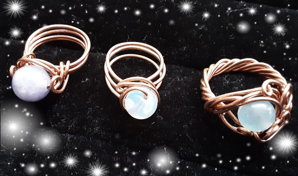 Copper ring, Moonstone, or Opalite stone, hand crafted, artisan ring, custom made to size
