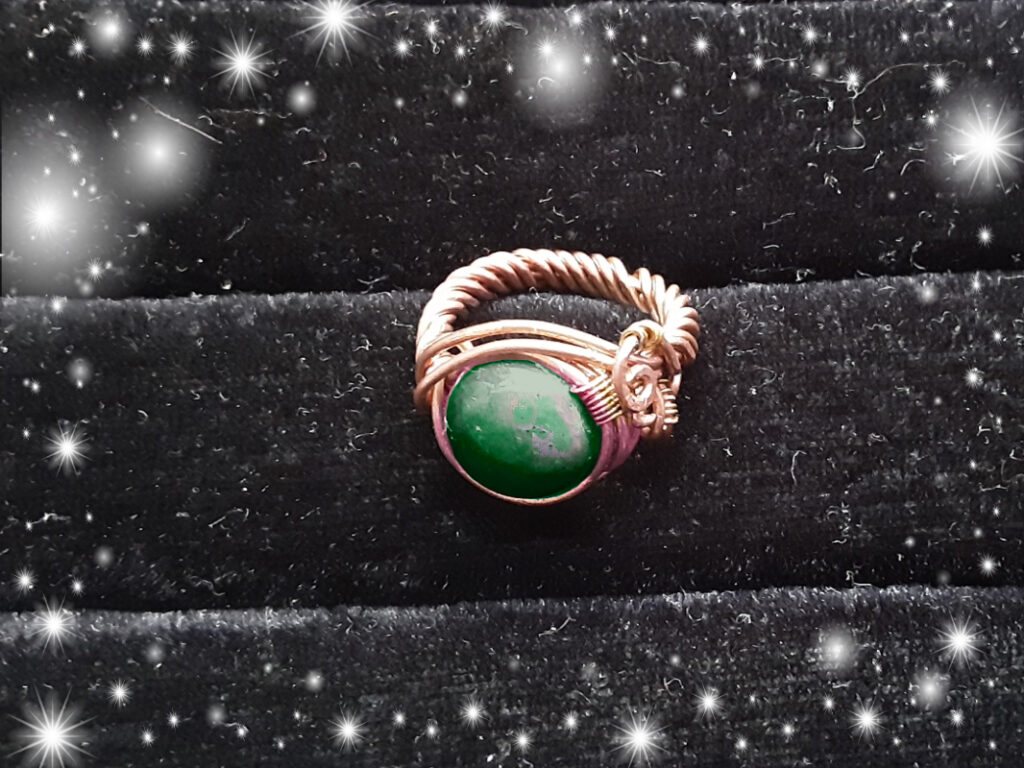 Ring Indian Agate cabochon copper ring, Custom made to size