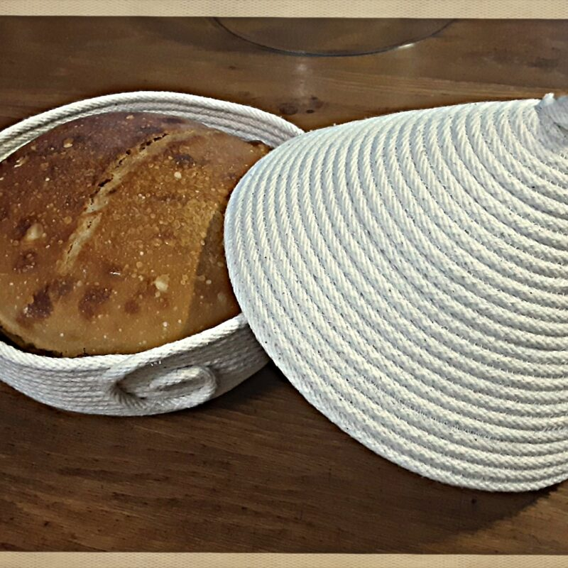 African Hut Basket - Cotton base with Lid 26cm wide x 24cm High
